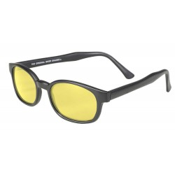 X-KDS 11112 -3 black matte frame - yellow lens sunglasses by cachalo